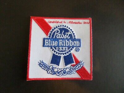 """PABST BLUE RIBBON"""" BEER RED & WHITE EMBROIDERED IRON ON PATCHES 3 X 3"""