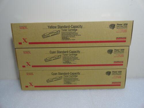 Lot of 3 Xerox 2Cyan 1Yellow Standard-Capacity Toner Cartridge Phaser 6250 OEM