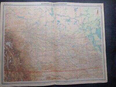 ALBERTA & SASKATCHEWAN 1922 WORLD MAP,TIMES ATLAS,BARTHOLOMEW,EDINBURGH,FREEPOST