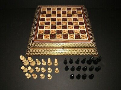 Persian Khatam Mosaic Inlaid Marquetry Wooden Lidded Box Chess Board Game Set