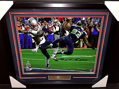 (MALCOM BUTLER INTERCEPTION SB XLXIX AUTOGRAPHED 16x20 PHOTO STEINER COA FRAMED)