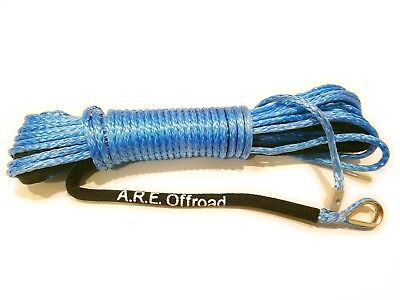 "BLUE Synthetic Winch Rope Line Cable 1/4"" x 50' 7000 LB With Rock Guard For ATV"