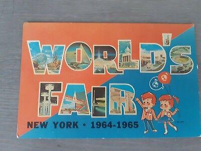 1964-1965 NY Worlds Fair  Post Card Store Advertising Banner Kids Logo new york