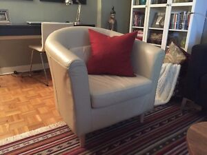 Two IKEA leather armchairs