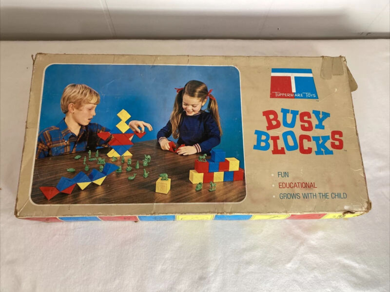 Vintage 1971 Tupperware Toys Busy Blocks COMPLETE!