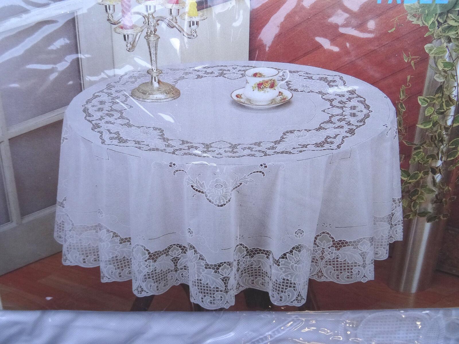 180 cm rund wei tischdecke rund schutzdecke balkon garten blumenmotiv vinyl ebay - Tischdecke garten ...