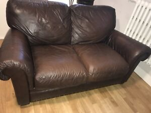 Beautiful brown leather loveseat