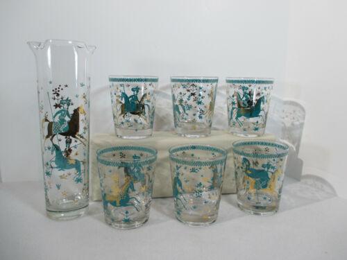 Cocktail Set Cera Glass Persian Polo Pony MCM Turquoise Glasses Pitcher Vtg 7pcs