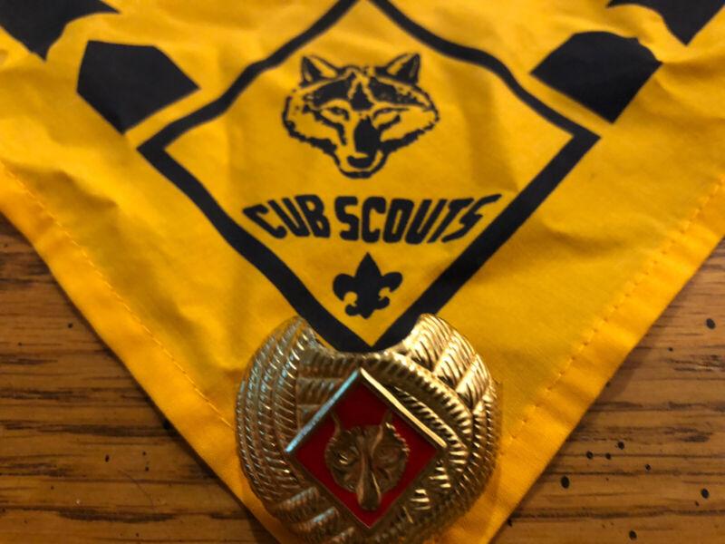 EUC Cub Scout Wolf Neckerchief Gold & Slide BSA Boy Scouts of America