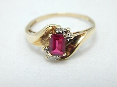 (10k Gold Emerald Cut .50 Carat Created Ruby Solitaire Ring Diamond Accents )