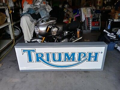 Vintage Triumph Motorcycle Metal Boxed Lighted Dealer Sign..used....no bike..lol