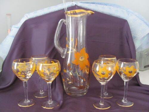 VTG 22K Gold Hand Painted Glass Pitcher with (6) Glasses
