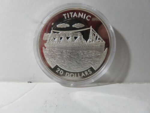 2000 TITANTIC 20 DOLLAR SILVER PROOF COIN only 2500 MINTED - 429