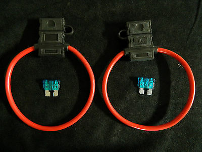 2 PACK 18 GAUGE ATC FUSE HOLDER W/ FUSE IN-LINE AWG WIRE COPPER 12 VOLT BLADE