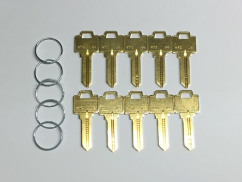 WEISER WR5 BLANK KEYS BRASS KEY BLANKS TEN KEYS