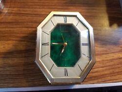 Seiko Quartz desk or table Alarm Clock, dark green face, hexagonal dial, QEJ196M