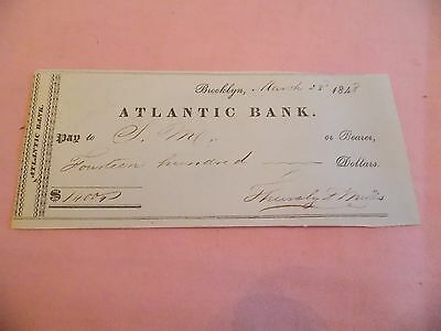 Rare 1848 Atlantic Bank Brooklyn 1400 Check Wow