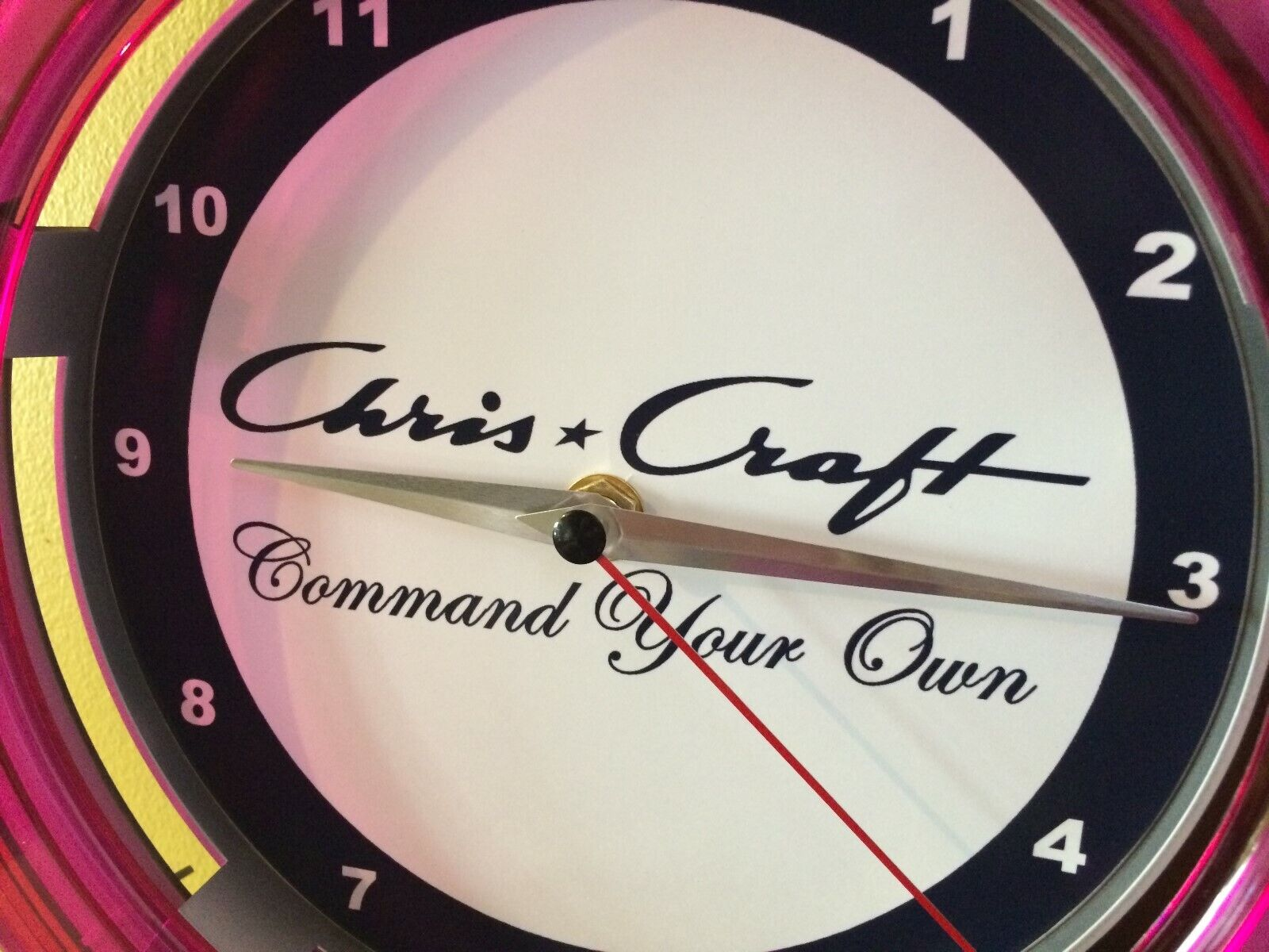 Chris Craft Boat Garage Advertising Neon Wall Clock Sign