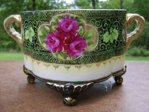 Antique Oriental Jardinere Fern Bowl with Handles and Footed  Peonies