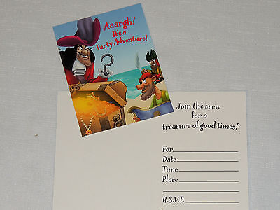 CAPTAIN HOOK/PETER PAN     8-PAPER INVITATIONS W/ENVELOPES   PARTY SUPPLIES (Peter Pan Party)