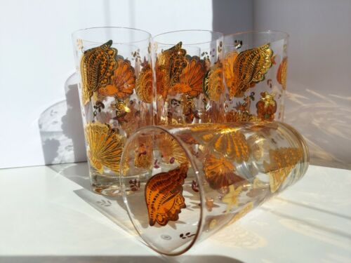 VTG Mid Century CULVER Highball Glass Tumblers 22 KT Gold Signed Lot of 6 12 oz