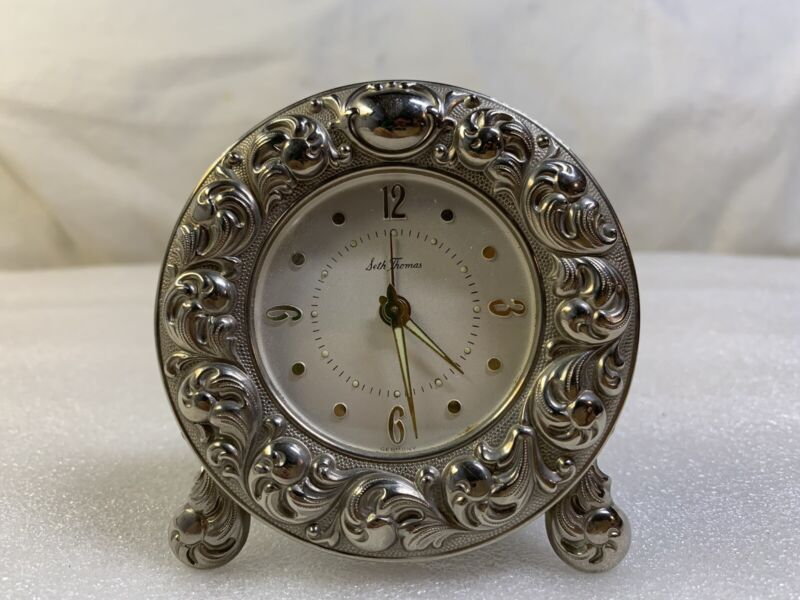 Vintage Seth Thomas Wind Up Travel Alarm Clock Silver-Tone Made in Germany