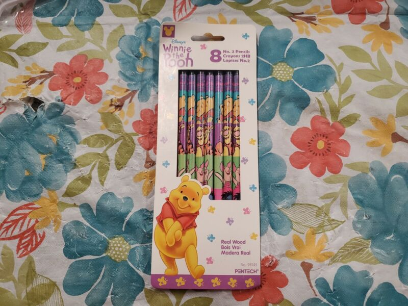 New Vintage 1998 Disney Winnie the Pooh Pack of 8  No 2 Pencils by Pentech wood