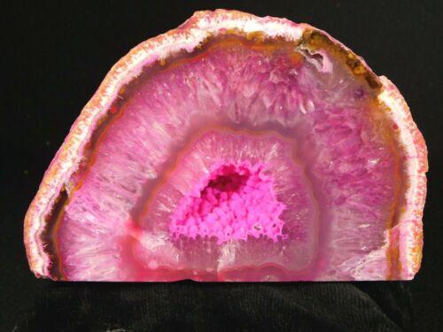 A Big Polished Free Standing FUCHSIA Quartz Crystal Geode 771gr