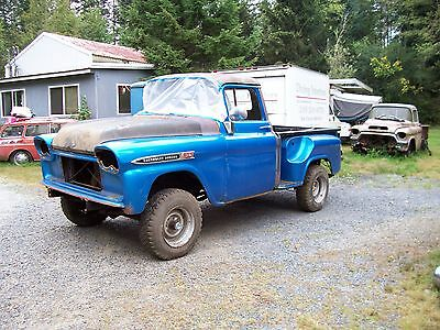 1959 Chevrolet Other Pickups plain 1959 1958 chevrolet 1/2t shortbed 4x4 pickup project like apache napco gmc