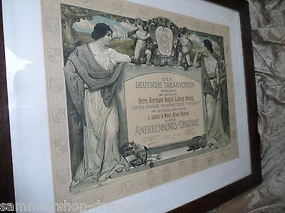 21990 Urkunde Tabakverein Zigarrenmacher 1929 Lithografie Jugendstil Altona
