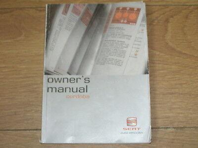 SEAT CORDOBA OWNERS MANUAL HANDBOOK 2002 - 2009. FREE UK POSTAGE