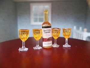 Dolls House Miniatures 1/12th Scale Accessory Wine Bottle & 4 Glasses D1745