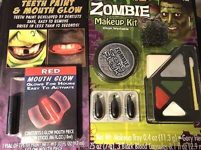 Halloween Makeup 1 Zombie Kit.           1 Teeth Paint Mouth Glow F113](Zombie Halloween Makeup Kits)