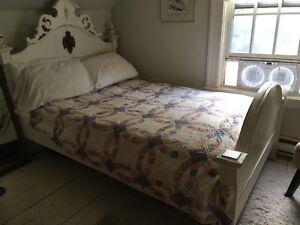Antique pine bed + dresser + night stand
