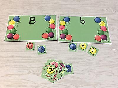Balloon B Sort - Uppercase Lowercase -Laminated Activity Set - Teaching Supplies - Lowercase B
