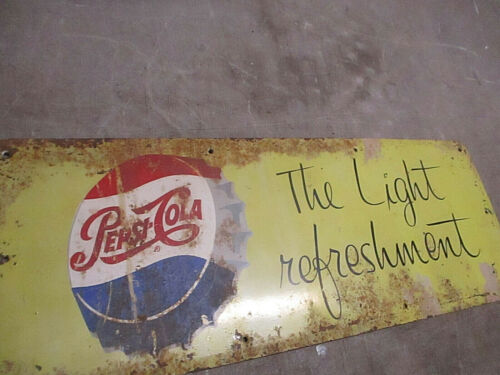 VINTAGE PEPSI COLA SIGN 50S LIGHT REFRESHMENT PORCELAIN