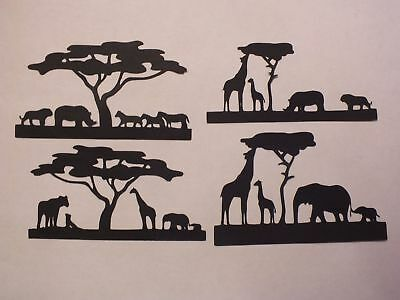 9 WILD ANIMAL LION ELEPHANT TIGER GIRAFFE LEOPARD TREES SCENERY ETC SILHOUETTES.