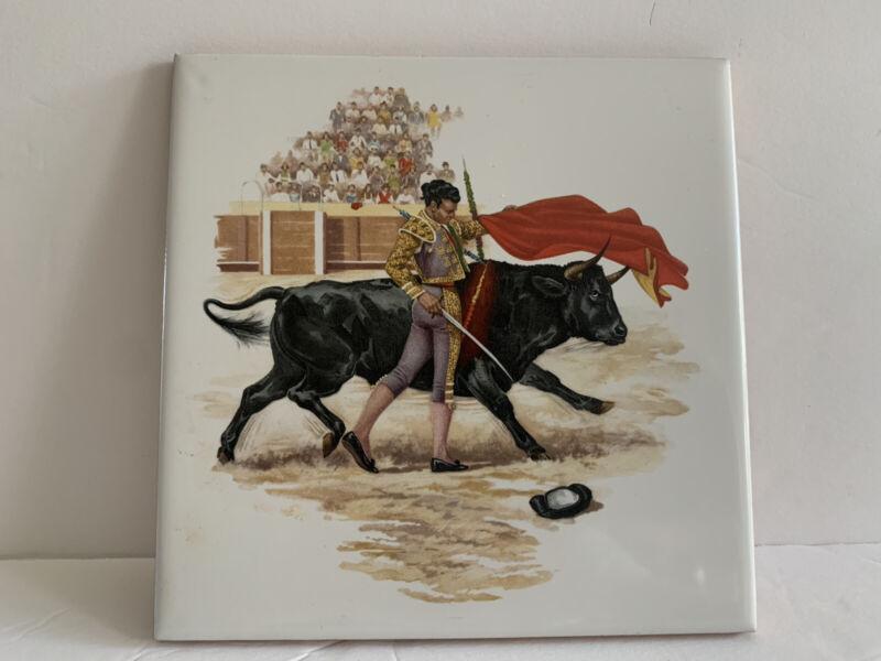 "Vintage Spanish Matador Bullfighting Ceramic Tile 5-3/4"" X 5-3/4"" Made In Spain"