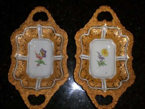 Antique  Meissen Porcelain  Serving bowl  Heavy gold  floral German PAIR