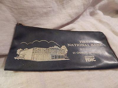Vintage First National Bank Vinyl Bank Deposit Bag St. Charles Minnesota