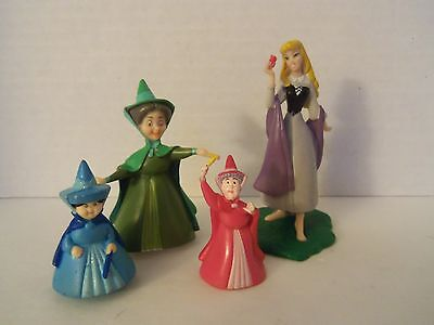 4 Disney Sleeping Beauty Figures Flora Fauna Merryweather Fairies Cake Toppers
