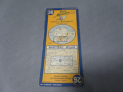 Card Michelin #26 Martigny-Milan 1953/Collector Bibendum Vintage