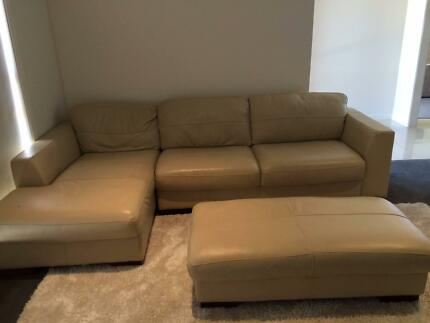 Bay Swiss Italian Leather Couch, Ottoman and Chaise Franklin Gungahlin Area Preview