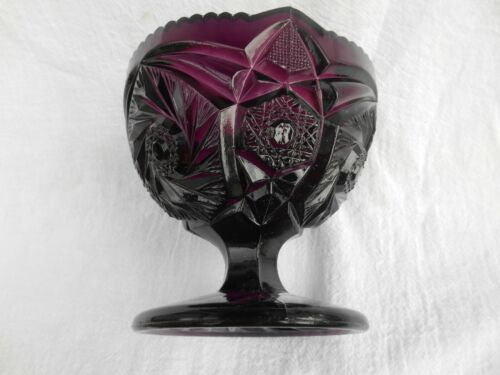 (G-26) VINTAGE PURPLE GLASS COMPOTE-WITH DIFFERENT PATTERNS