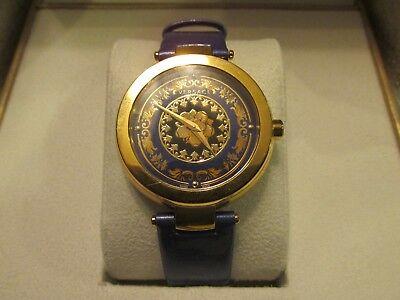VERSACE Women's Swiss Quartz Leather Strap Rose Gold & Blue Wrist Watch w Box