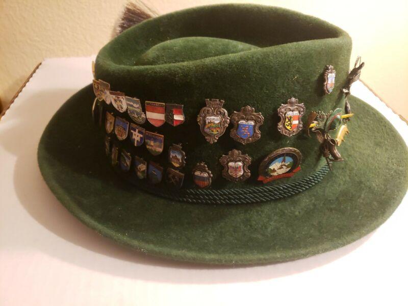 Vintage Oktoberfest German Bavarian  Hat and Pins