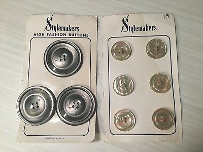 Vintage Buttons Big Round & Pearlized Sewing Stylemakers High Fashion Gray Cream