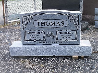 "Granite cemetery headstone- gray- multiple engraving options 36 x 6 x 20"""
