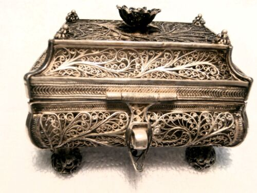 JUDAICA: 1857 MOSCOW RARE BESOMIN SPICE CONTAINER IN .9475  SILVER FILIGREE!