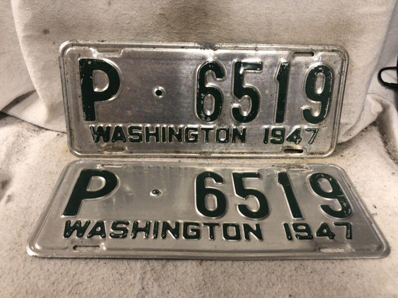 Vintage 1947 Washington License Plate Pair